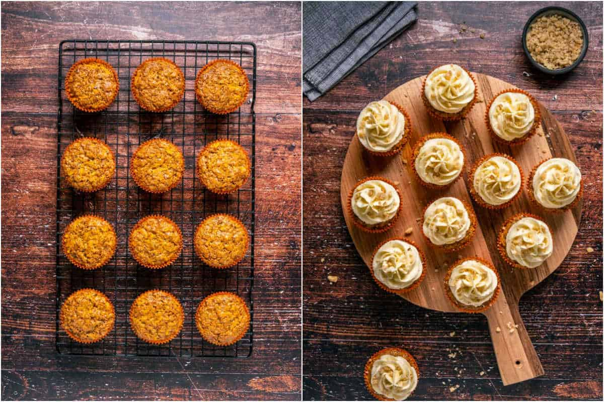 Two photo collage showing cupcakes on a wire cooling rack and then frosted on a wooden board.
