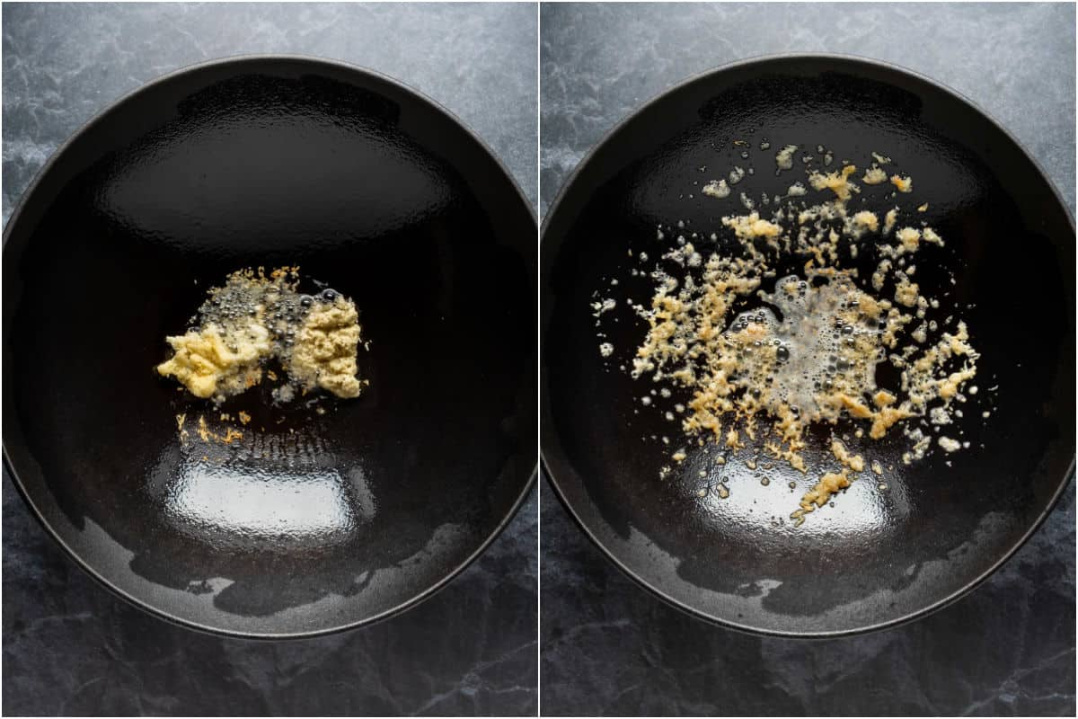 Two photo collage showing garlic and ginger sautéed in sesame oil.