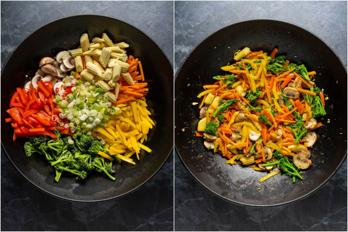 Collage of two photos showing veggies added to wok and sautéed.