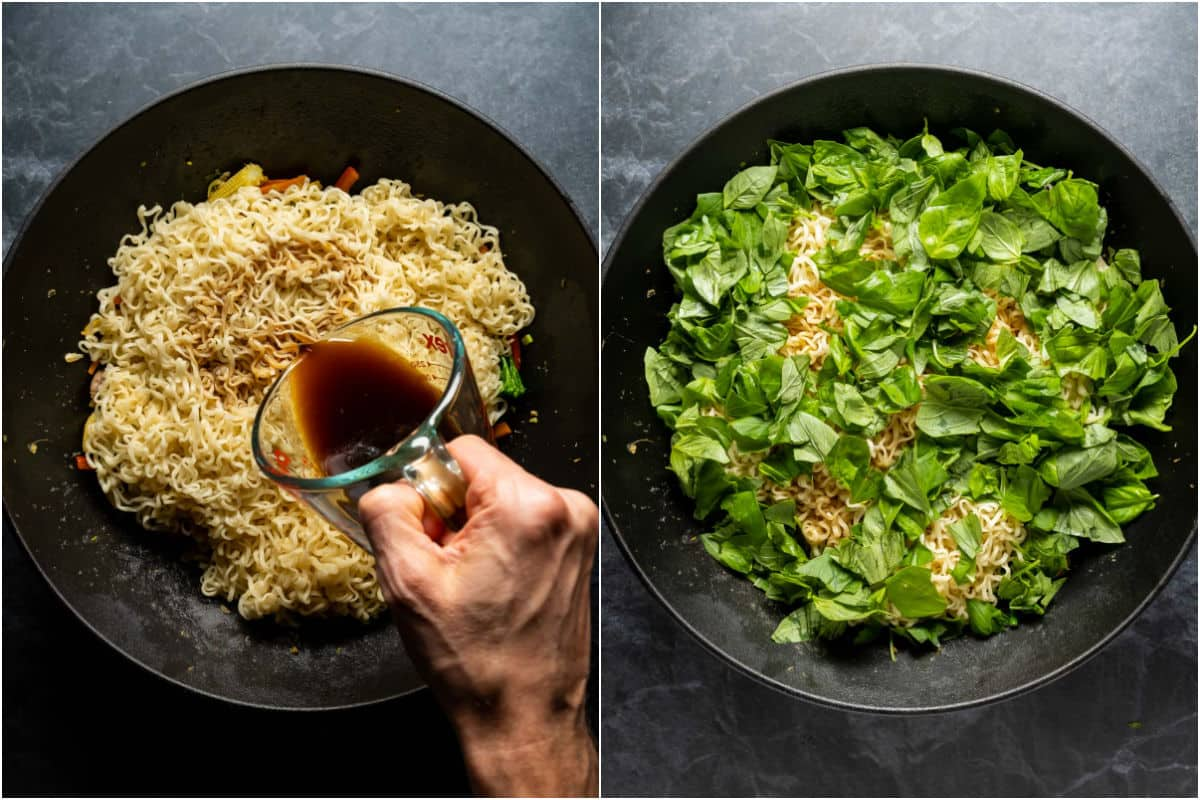Collage of two photos showing noodles, soy sauce and fresh chopped basil added to wok.