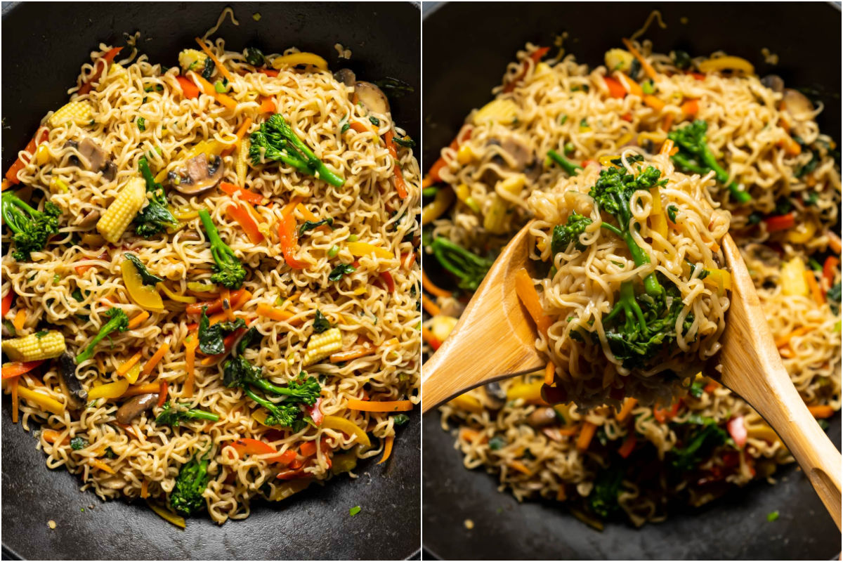 Collage of two photos showing cooked vegan chow mein.