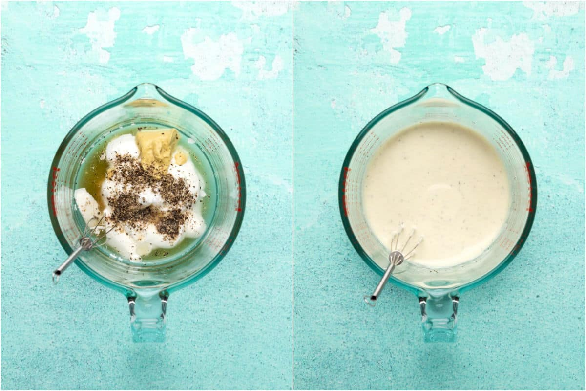 Collage of two photos showing ingredients added to measuring jug and mixed together.