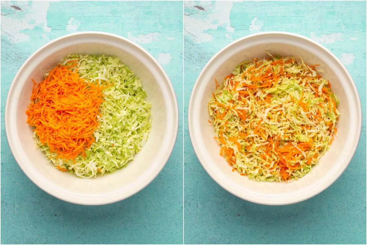 Two photo collage showing shredded cabbage and carrots added to mixing bowl and mixed together.