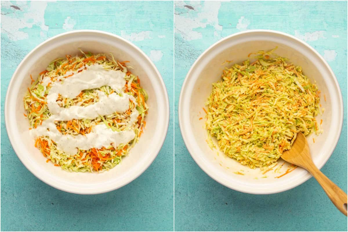 Two photo collage showing dressing poured over shredded cabbage and carrot and mixed in.