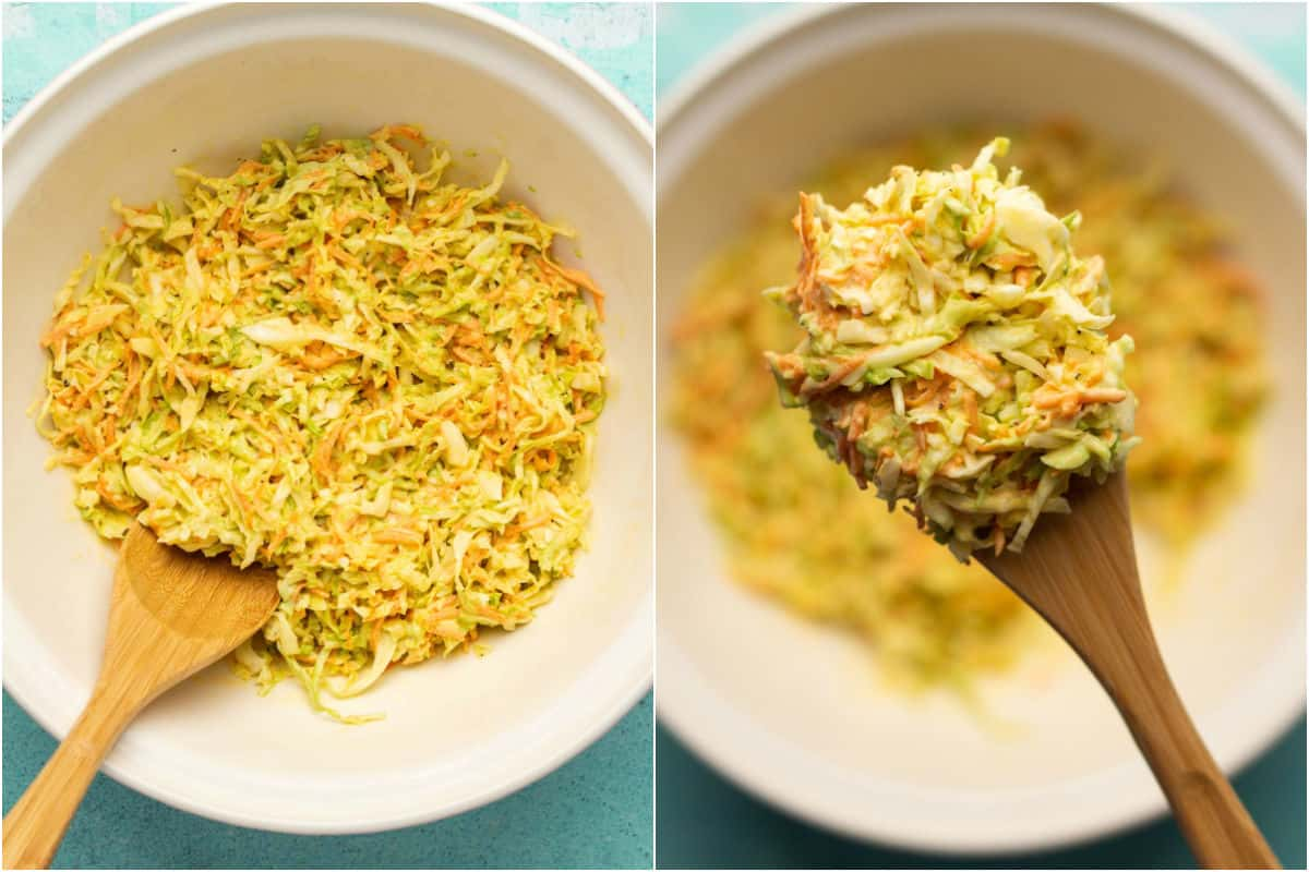 Two photo collage showing coleslaw after chilling in the fridge.