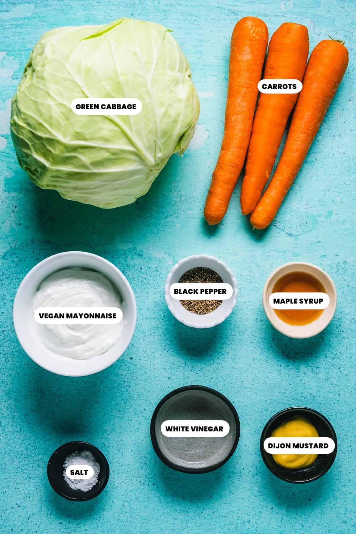 Photo of the ingredients needed to make vegan coleslaw.
