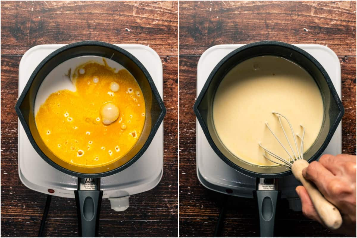 Collage of two photos showing custard ingredients added to saucepan and whisked together.