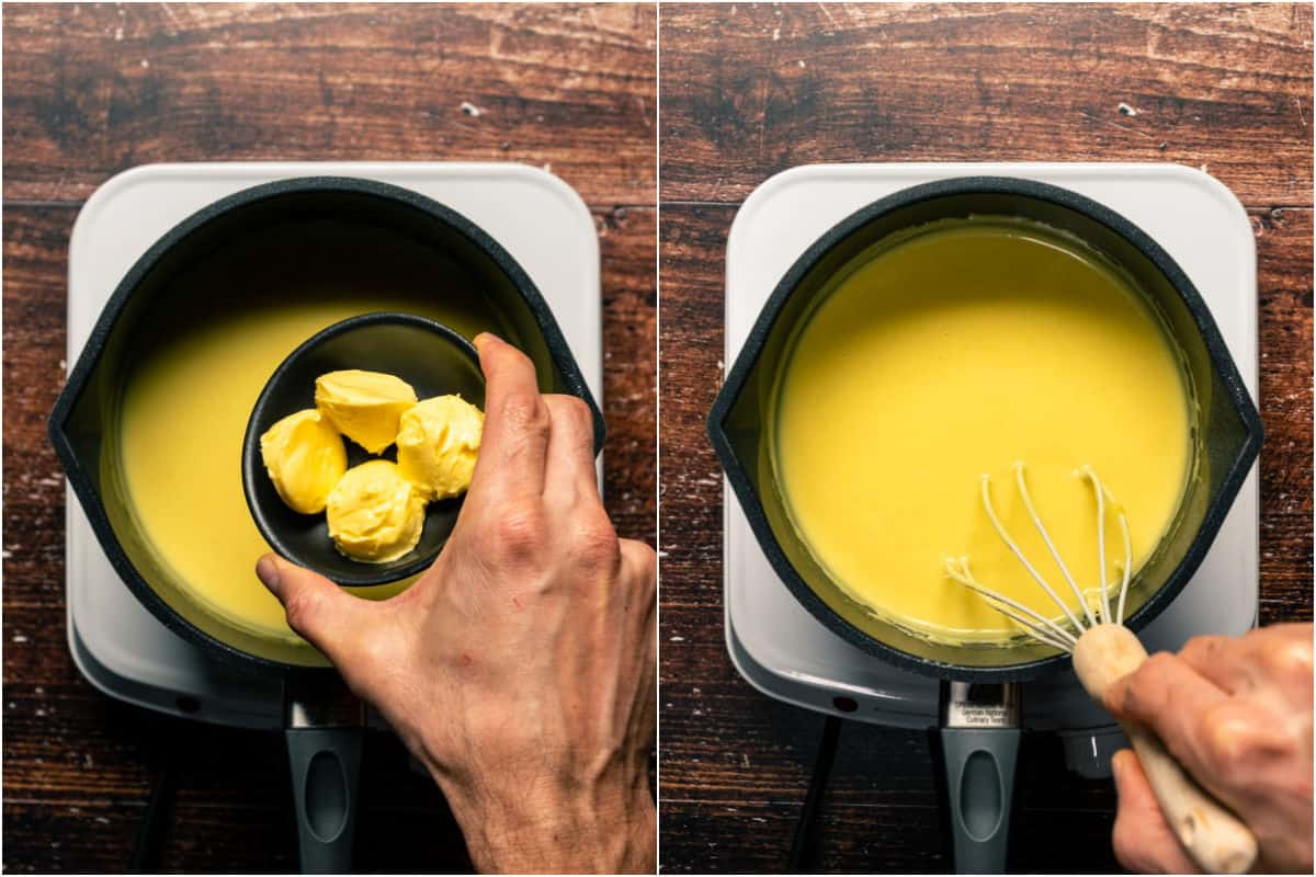 Collage of two photos showing vegan butter added to custard and whisked in.