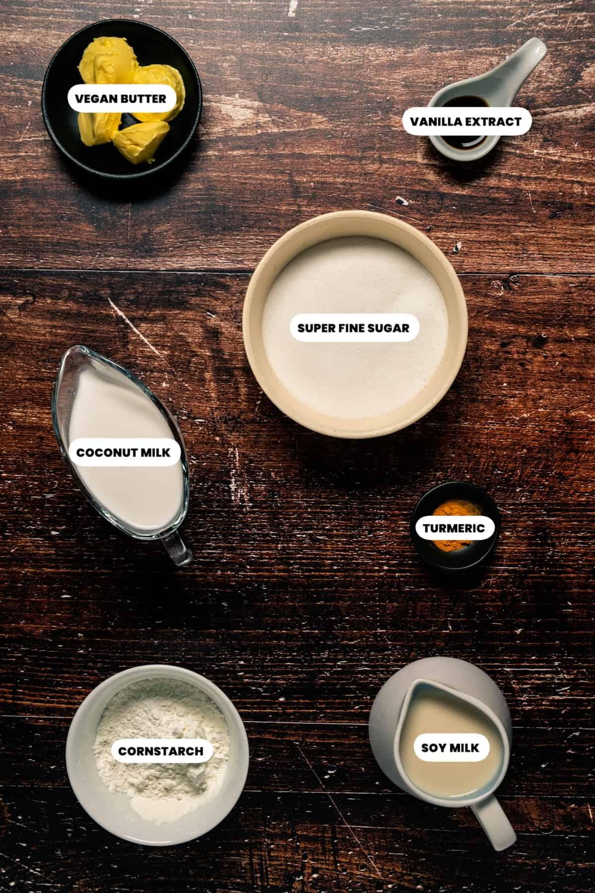 Photo of the ingredients needed to make vegan custard.