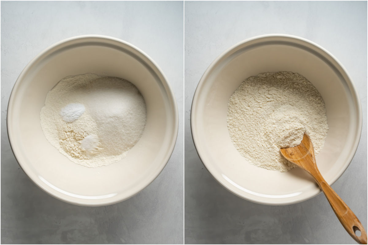 Collage of two photos showing dry ingredients added to mixing bowl and then mixed together.
