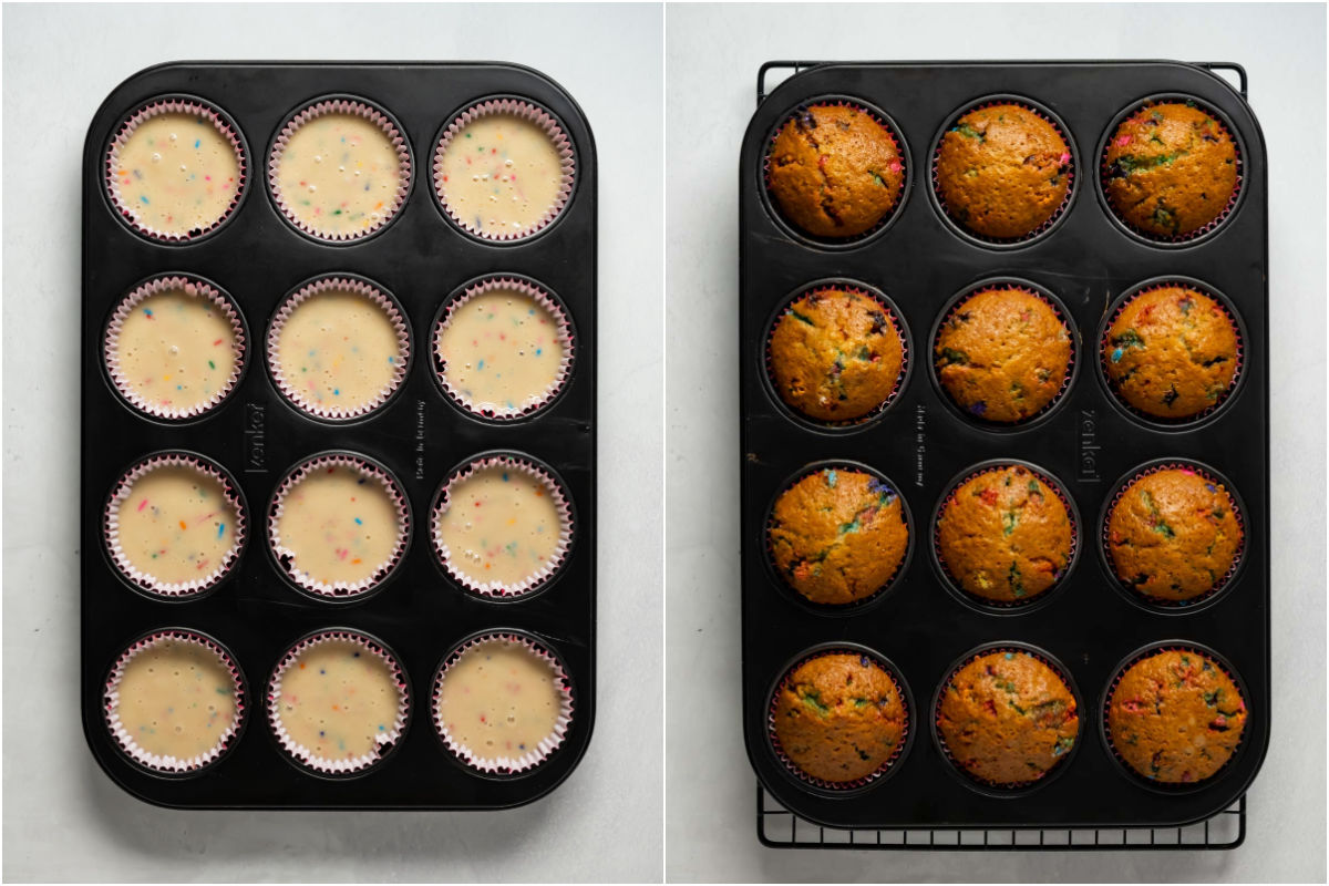 Collage of two photos showing funfetti cupcakes before and after baking.
