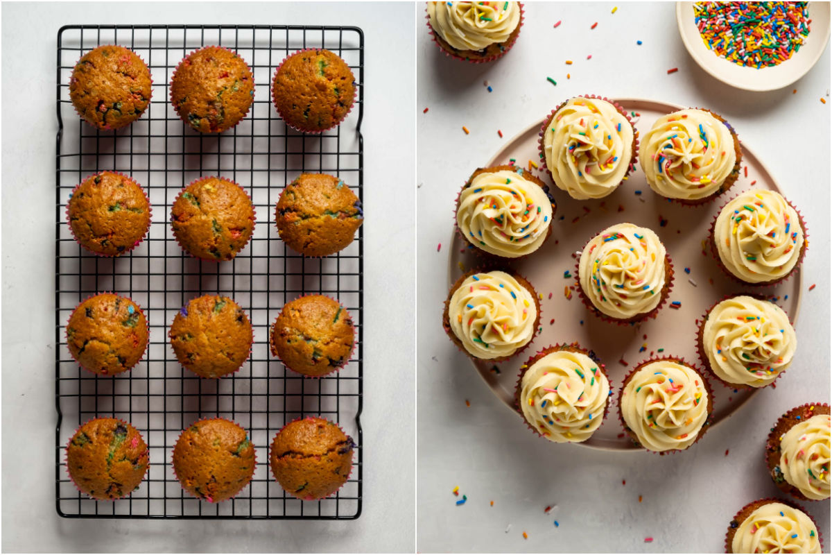Two photo collage showing cupcakes on a wire cooling rack and then the frosted cupcakes on a plate.