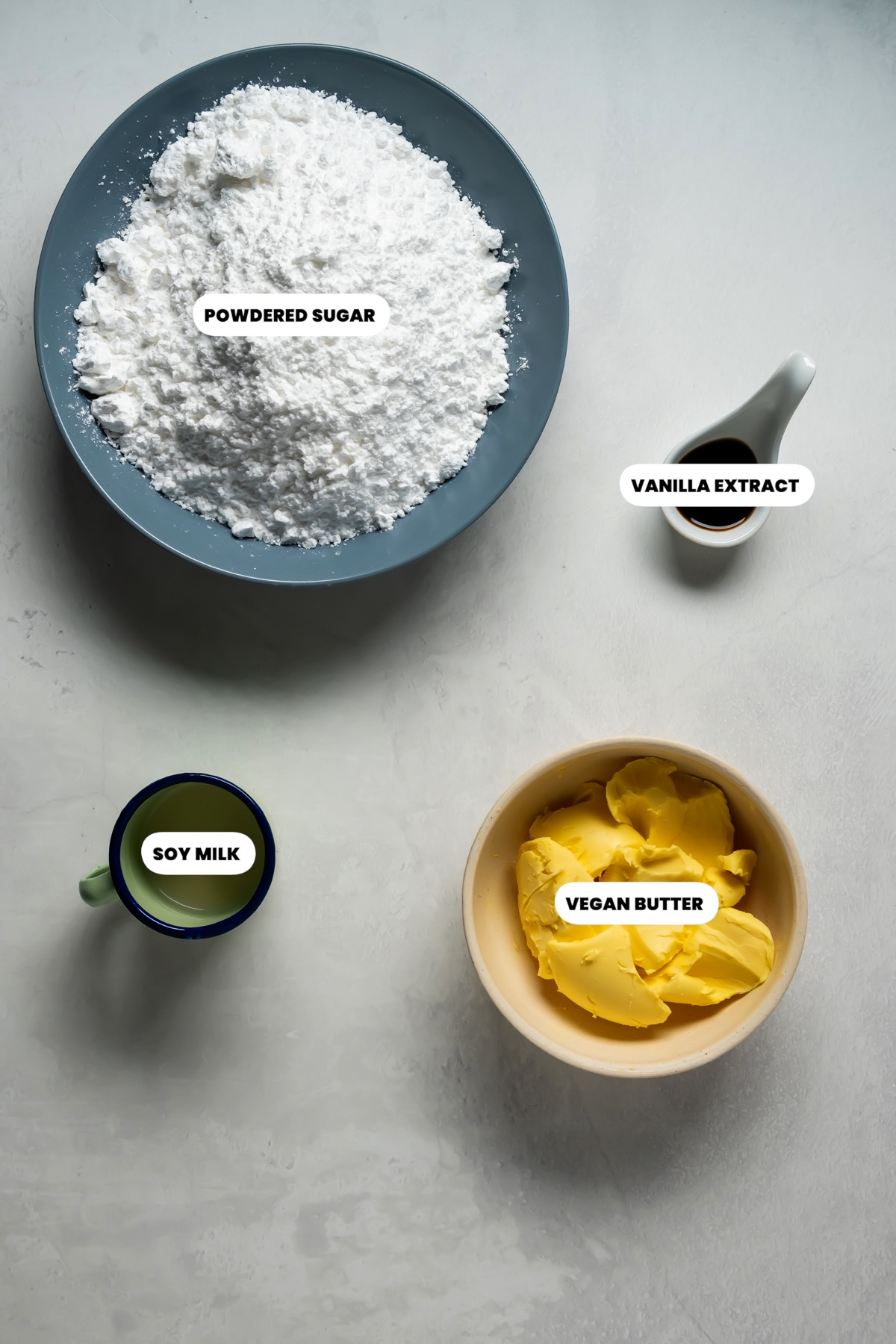 Photo of the ingredients needed to make frosting.