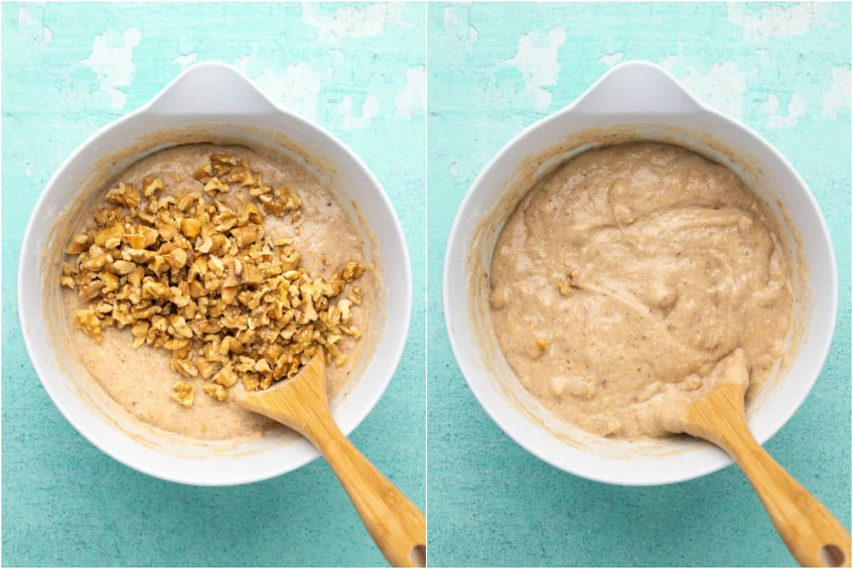 Two photo collage showing walnuts added to the batter and mixed in.
