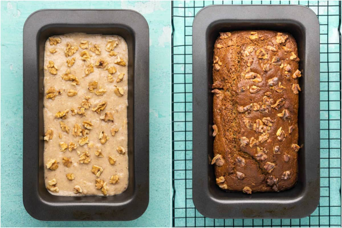 Two photo collage showing vegan gluten free banana bread before and after baking.