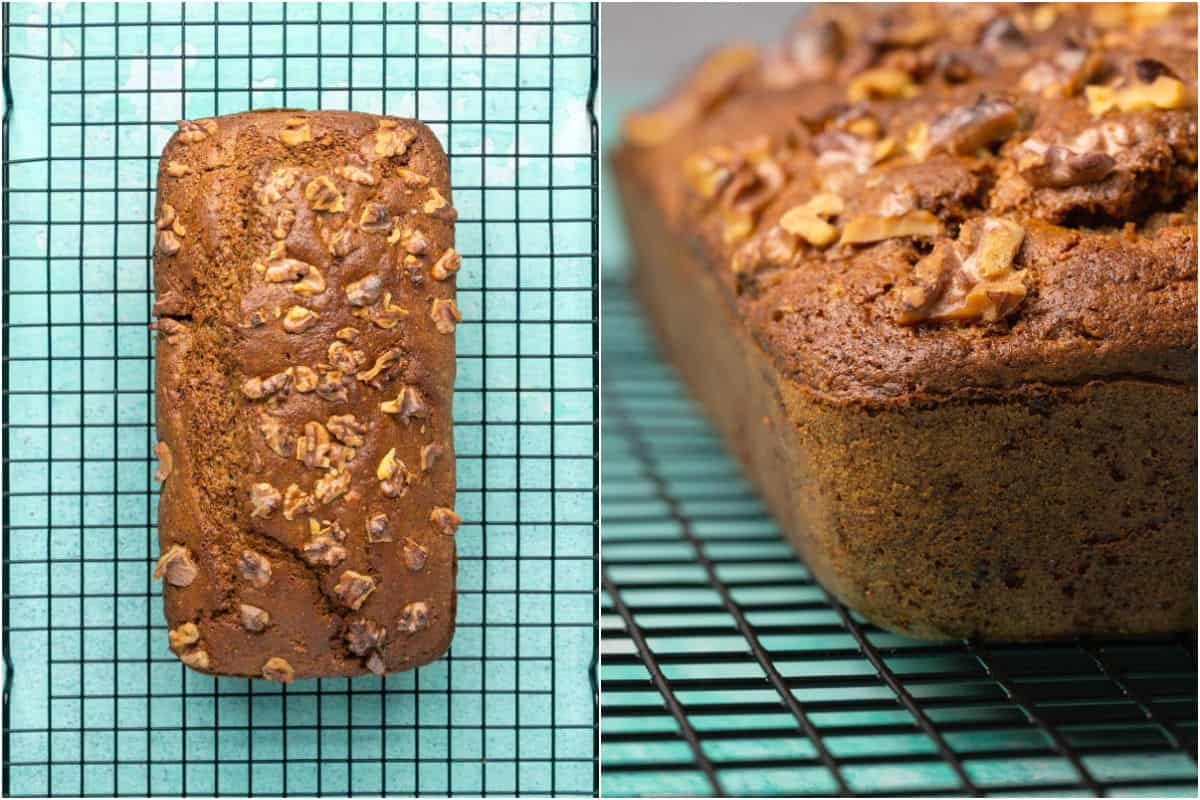 Two photo collage showing vegan gluten free banana bread cooling on a wire cooling rack.
