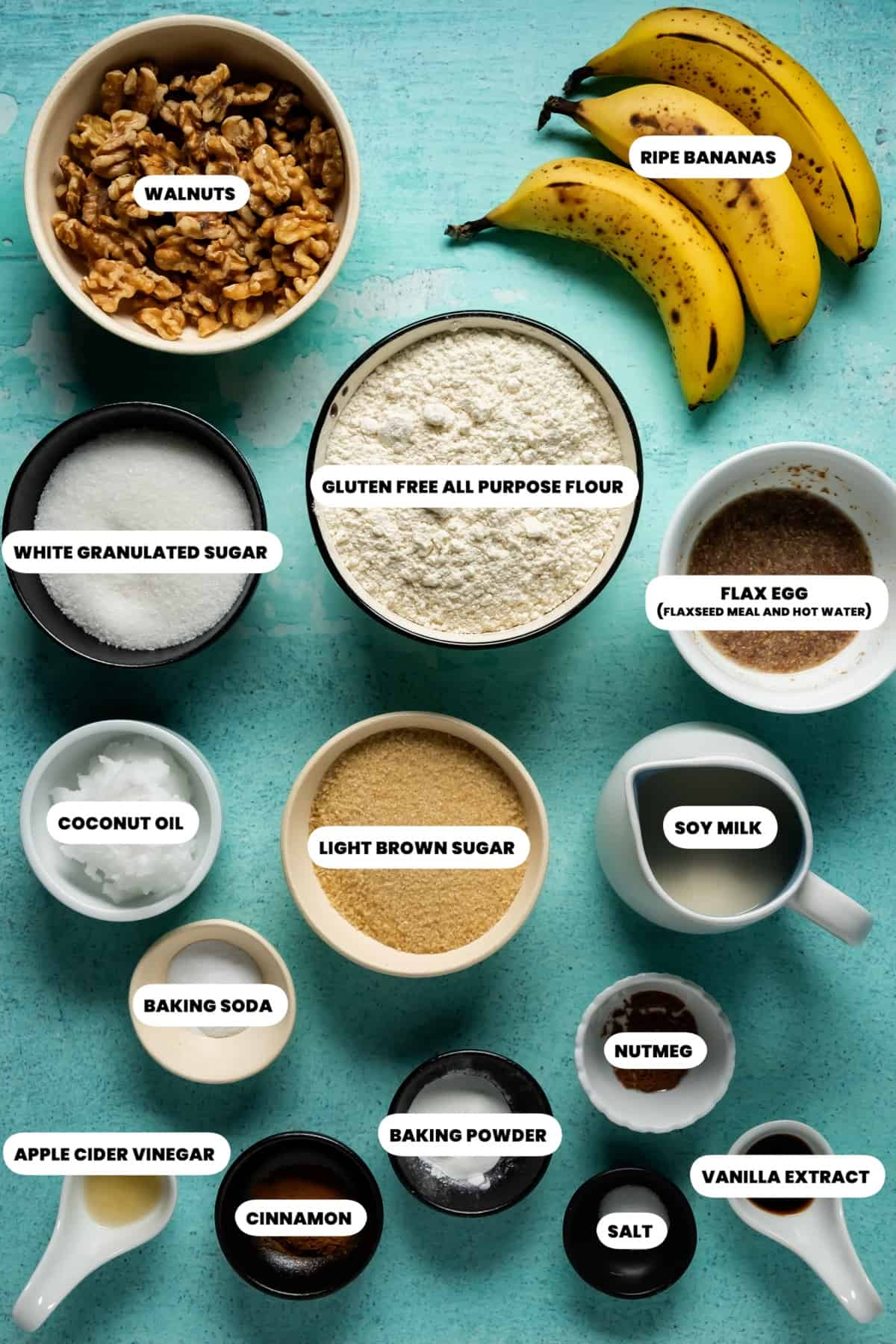Photo of the ingredients needed to make vegan gluten free banana bread.