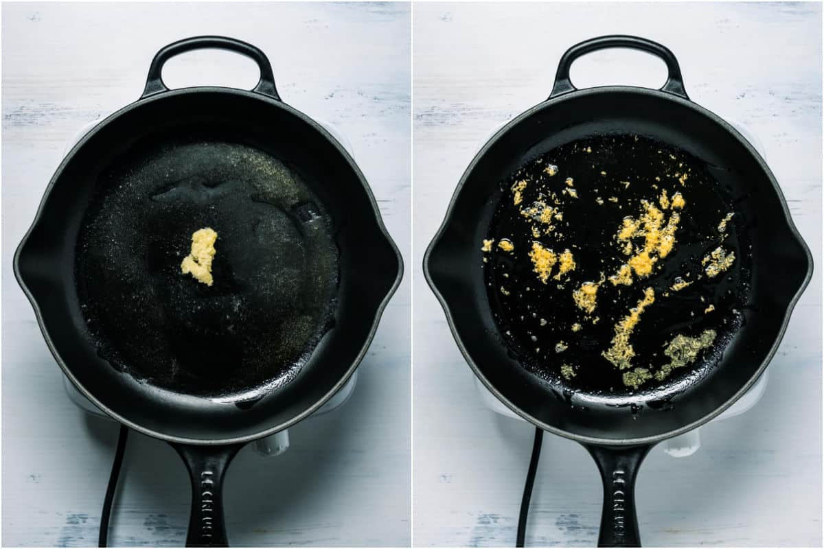 Collage of two photos showing crushed garlic added to skillet and sautéed.