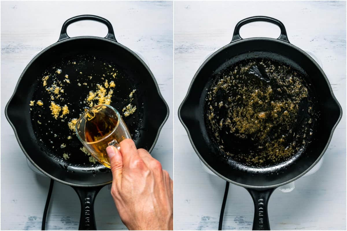Two photo collage showing brandy added to skillet and cooked off until reduced slightly.
