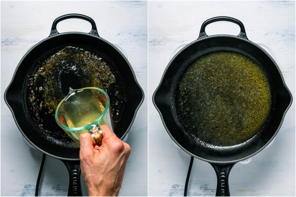 Two photo collage showing vegetable stock added to skillet and cooked off until reduced slightly.