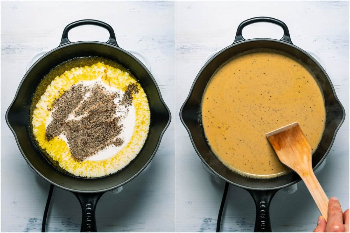 Two photo collage showing coconut cream, black pepper and soy sauce added to skillet and mixed in.