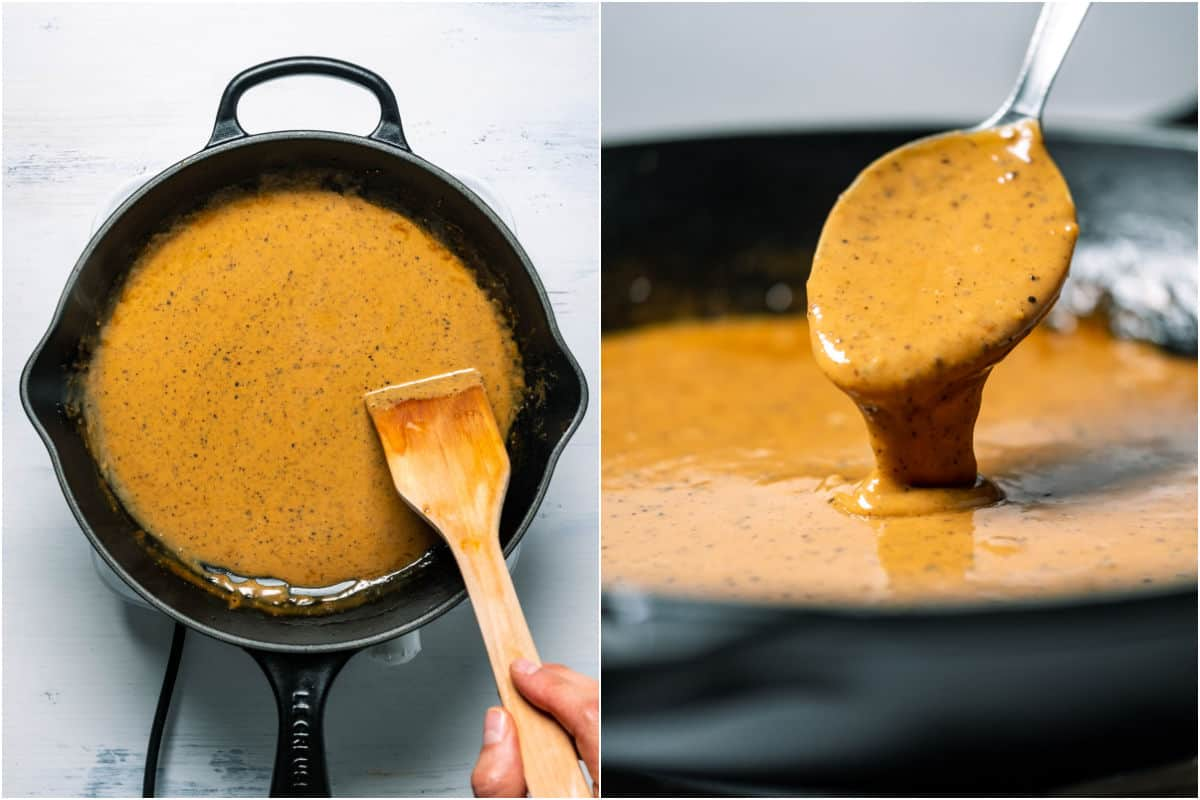 Two photo collage showing reduced thickened vegan peppercorn sauce.
