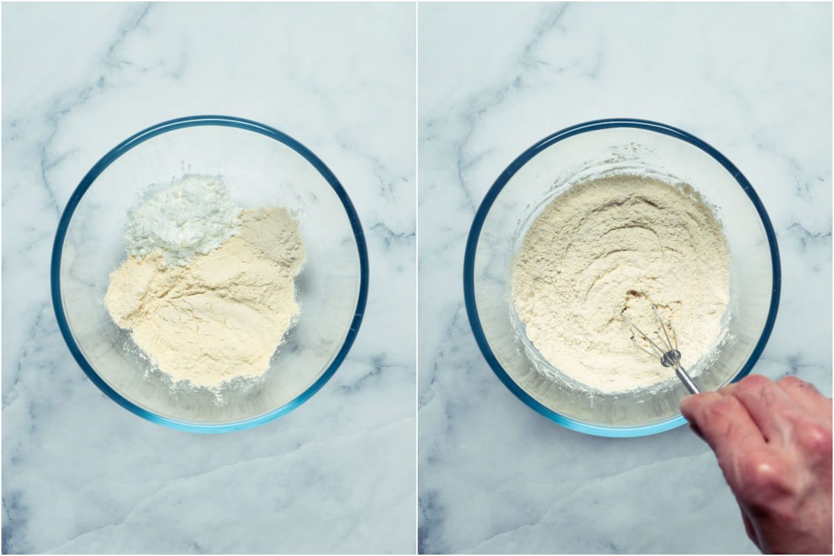 Collage of two photos showing dry ingredients for the white fat in a mixing bowl and then mixed together.
