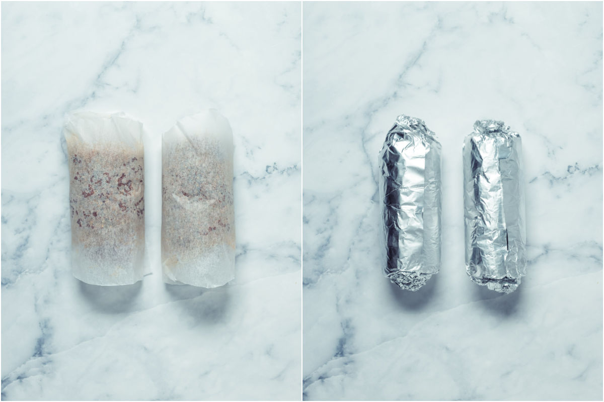 Two photo collage showing the two sausages rolled in parchment paper and then foil.