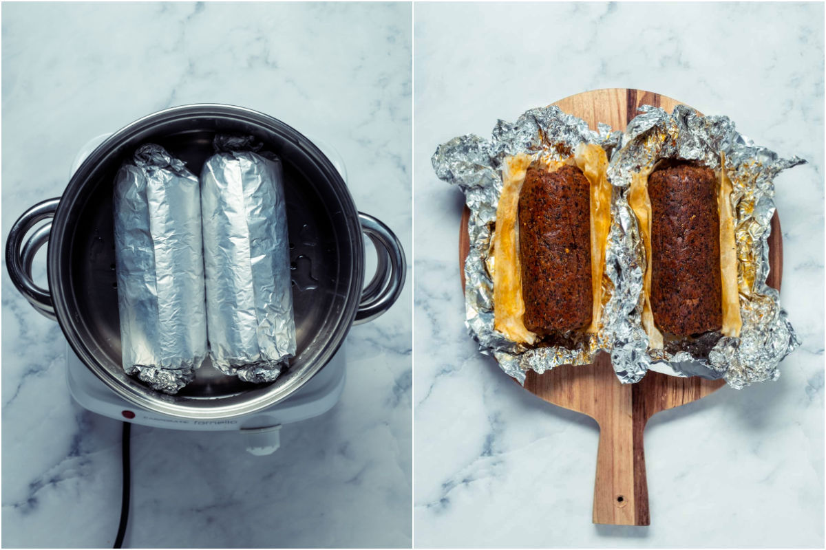 Two photo collage showing the foil wrapped sausages added to a steamer basket and steamed and then opened up on a wooden board.