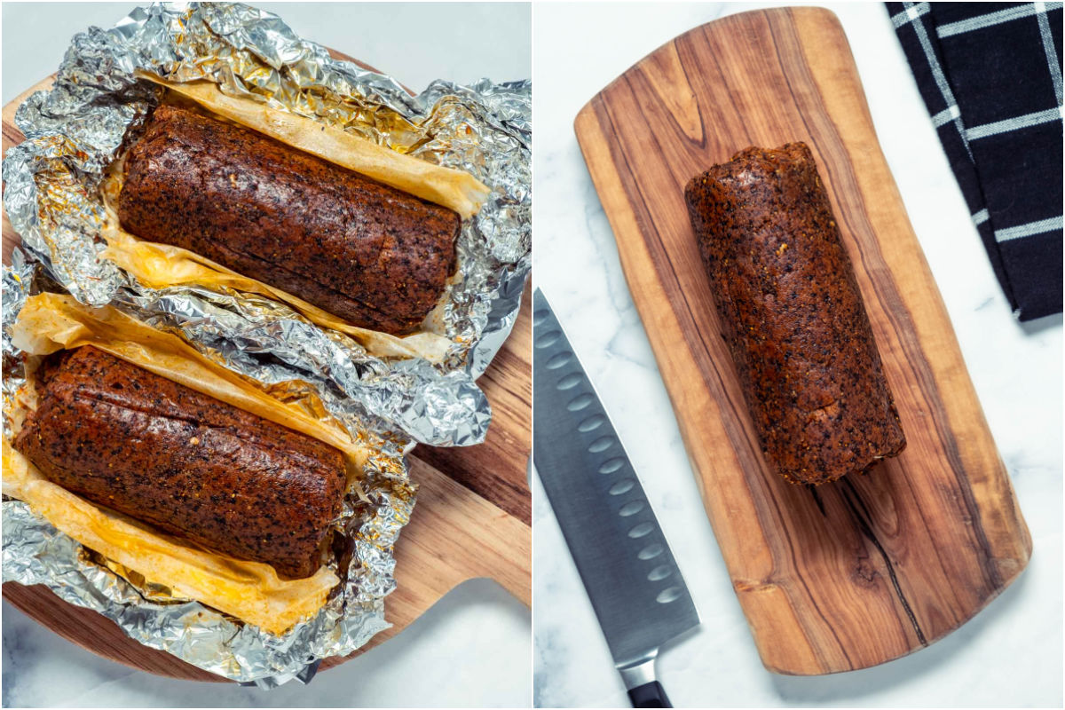 Two photo collage showing the steamed sausages with open foil and then one of the sausages ready to be sliced on a wooden board.