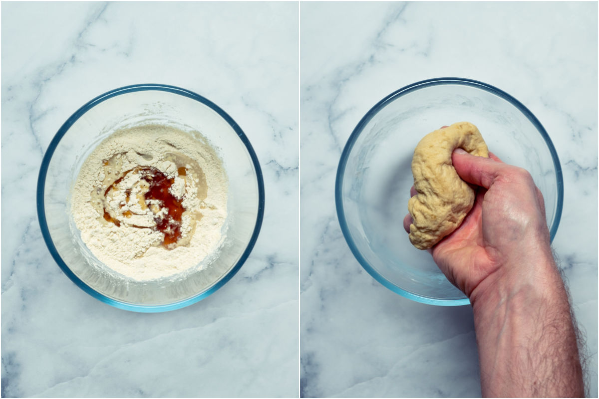 Two photo collage showing oil and vegetable stock added to dry ingredients and formed into a ball of dough.