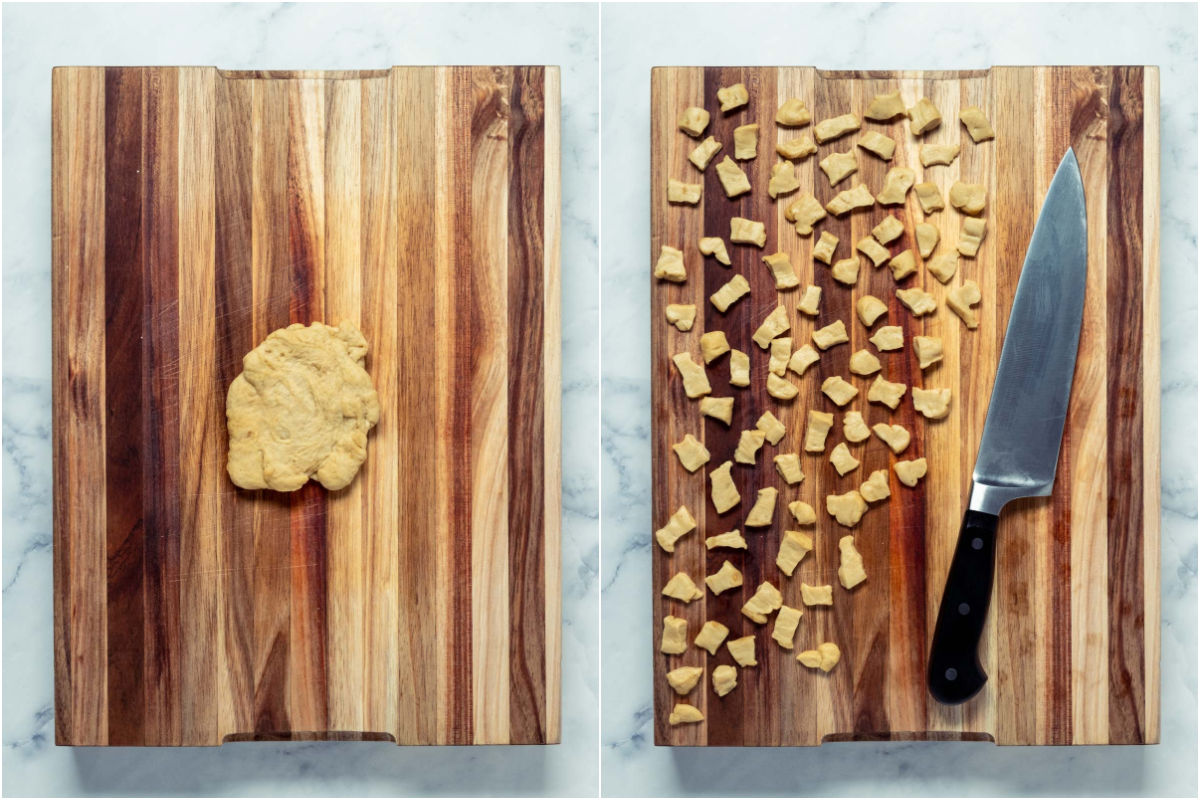 Two photo collage showing white fat dough placed onto wooden board and cut into small pieces.