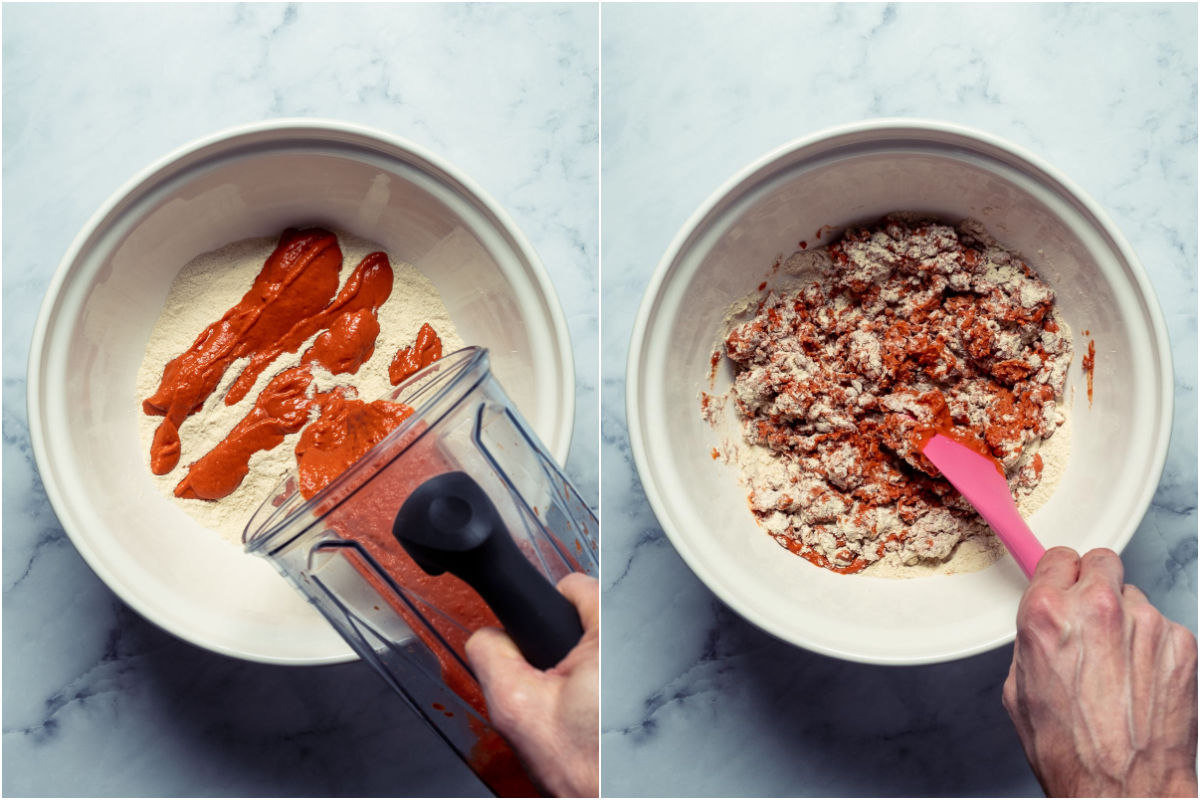Two photo collage showing wet ingredients added to dry in mixing bowl and mixed.