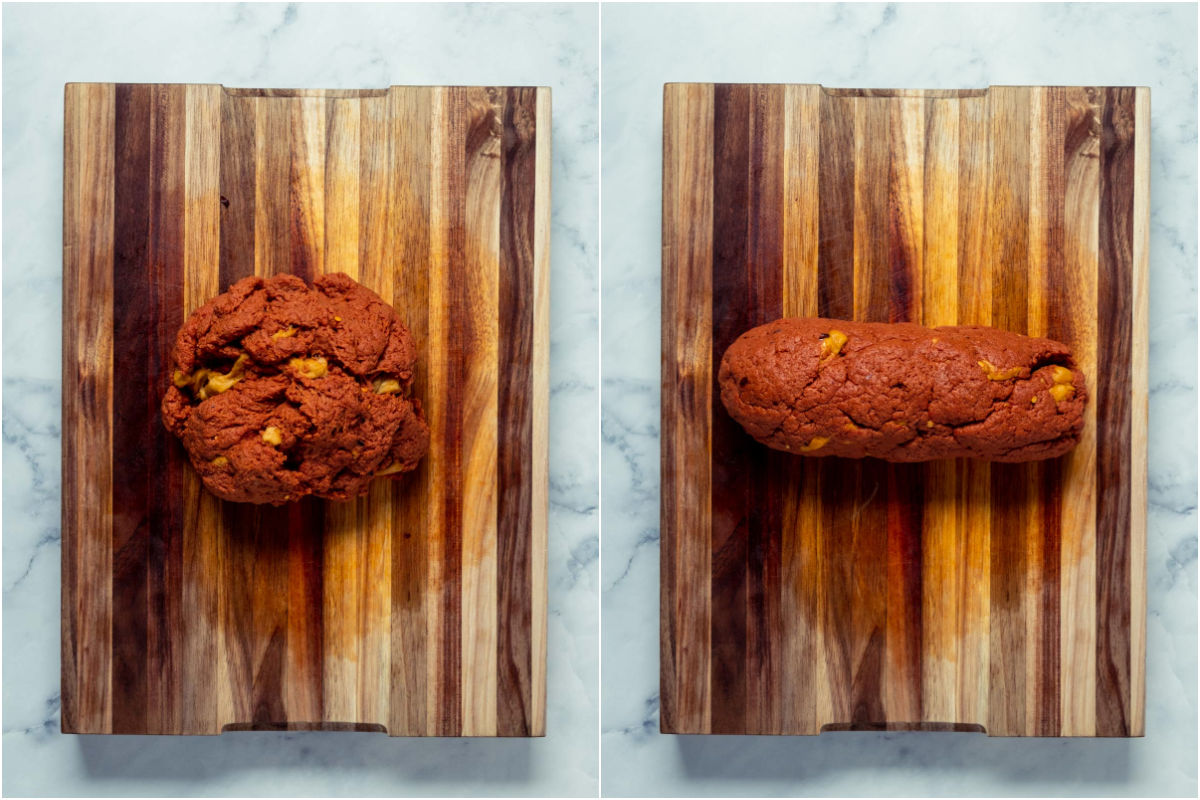 Two photo collage showing the red and white dough rolled up into a ball and then formed into a sausage shape.