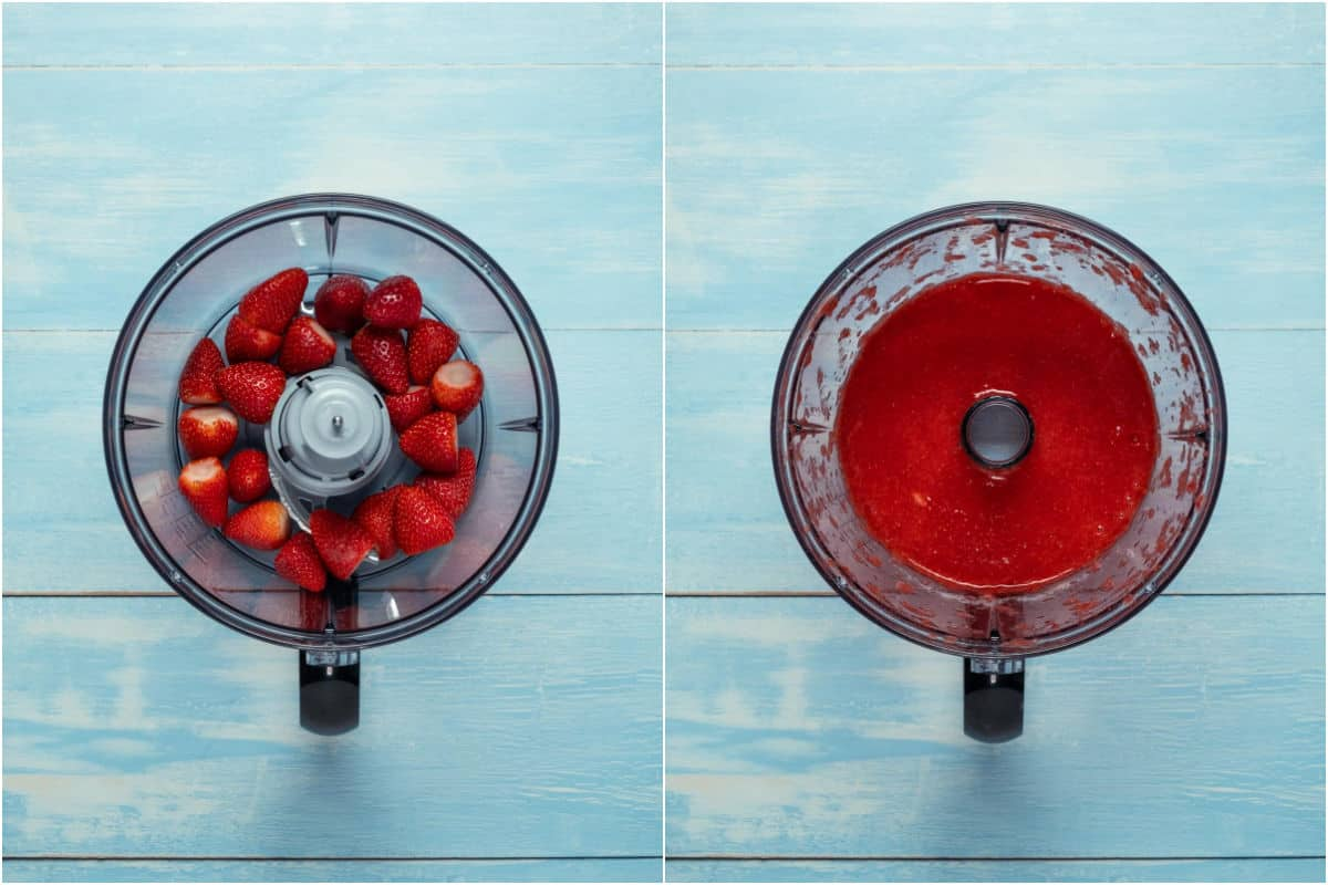 Two photo collage showing fresh strawberries added to food processor and processed into purée.