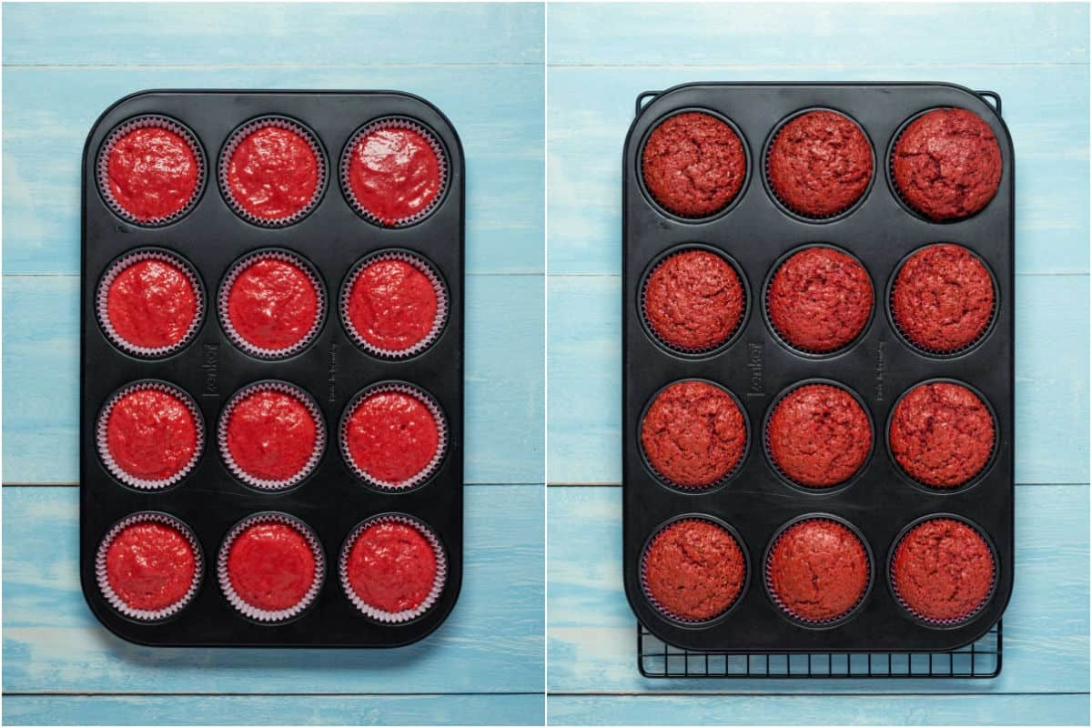 Two photo collage showing strawberry cupcakes in the cupcake tray before and after baking.