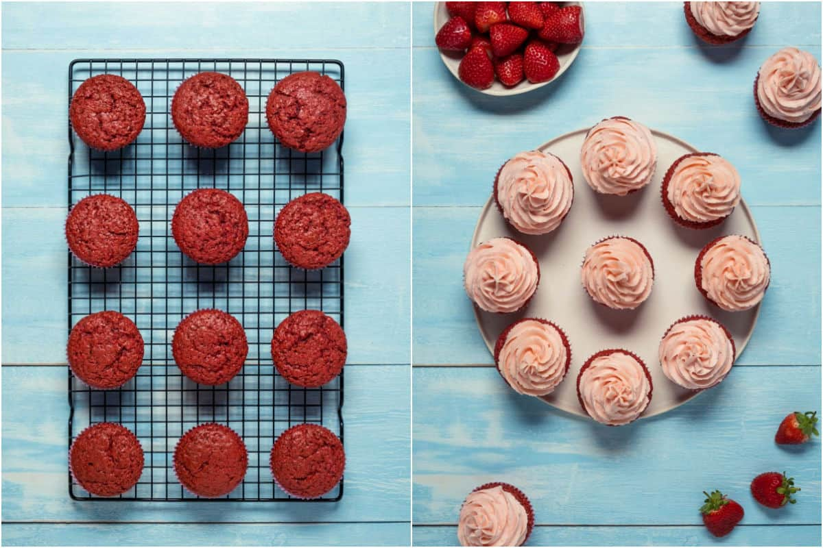 Two photo collage showing cupcakes on a wire cooling rack and then the frosted cupcakes on a white plate.