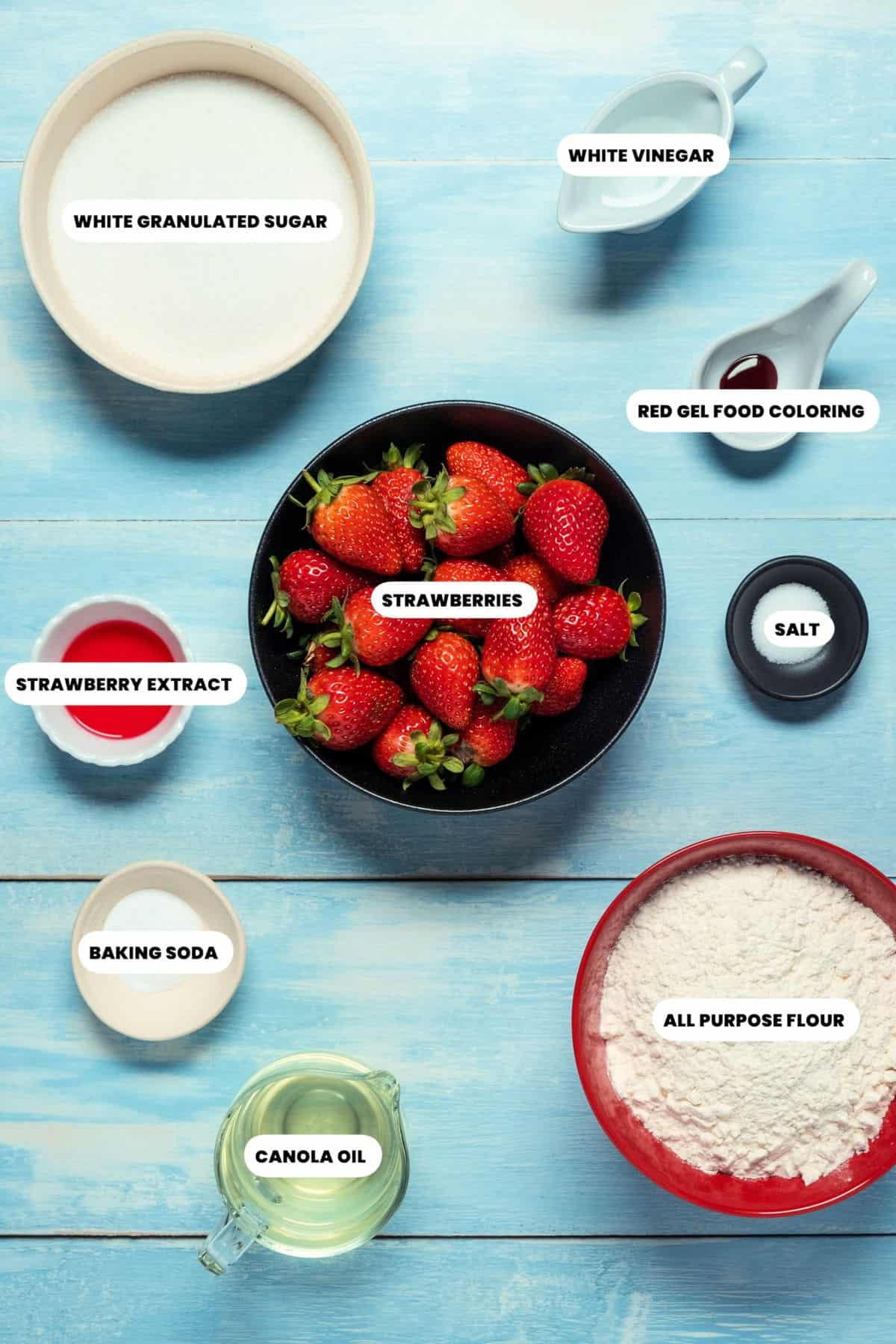 Photo of the ingredients for vegan strawberry cupcakes.