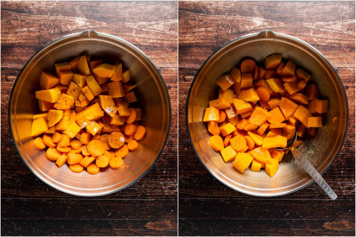 Two photo collage showing chopped butternuts, carrots, oil and spices in a bowl and tossed together.