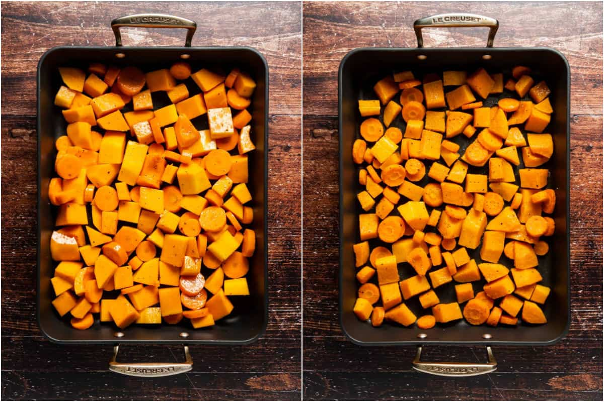 Two photo collage showing butternut squash and carrots in a roasting dish before and after roasting.