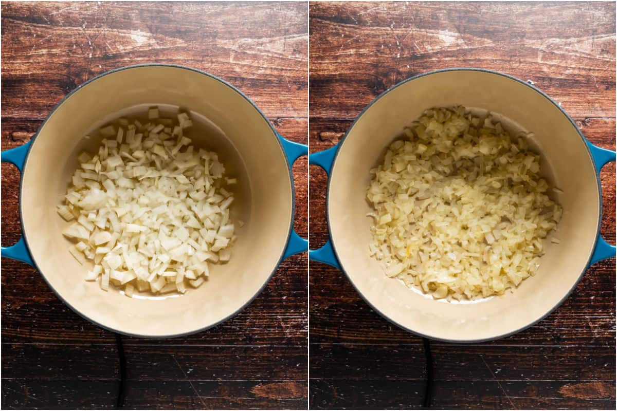 Two photo collage showing oil and onions added to pot and sautéed until softened.