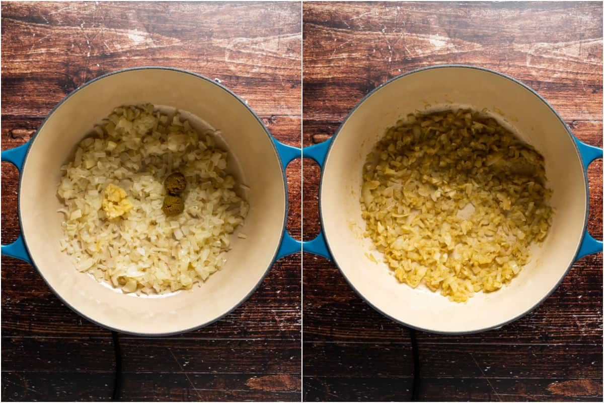 Two photo collage showing crushed garlic and green curry paste added to pot and sautéed with the onions.