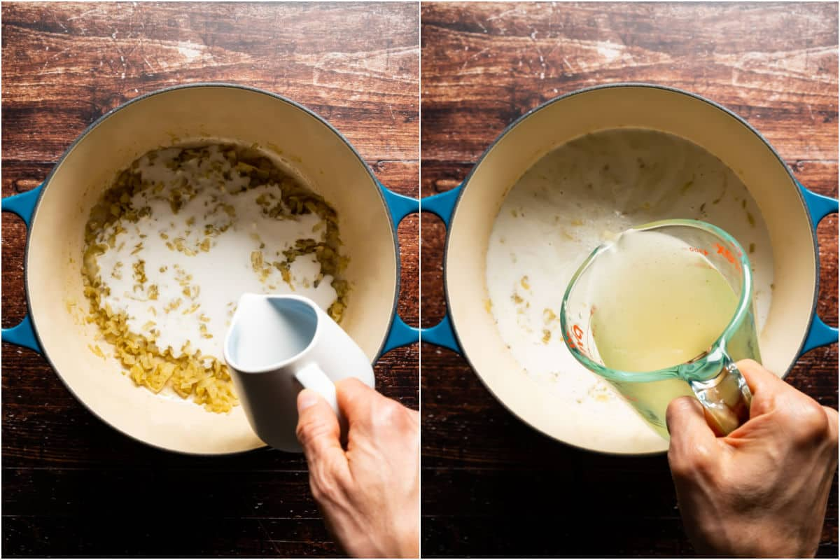 Two photo collage showing coconut milk and vegetable stock added to pot.