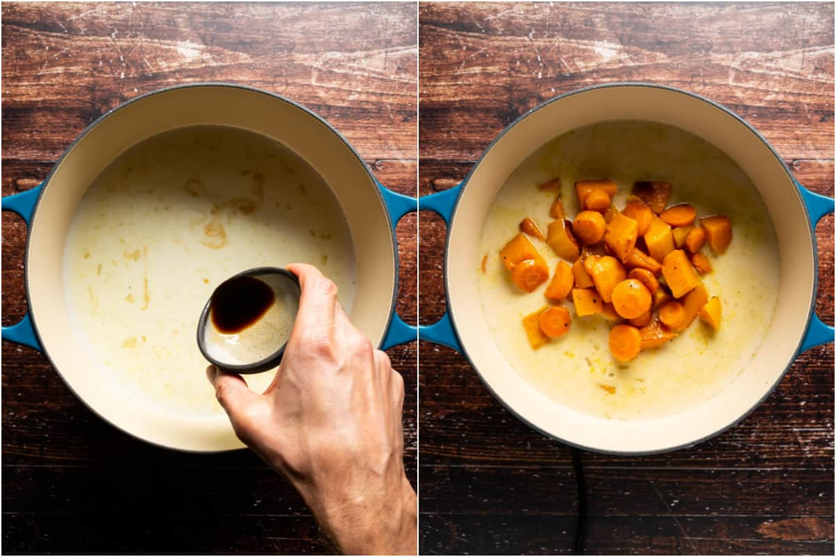 Two photo collage showing soy sauce and roasted butternut squash and carrots added to pot.