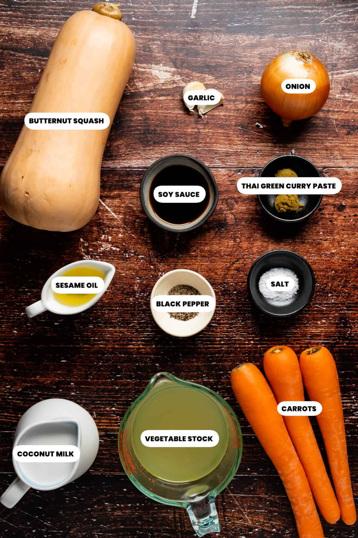 Photo of the ingredients needed to make Thai butternut squash soup.