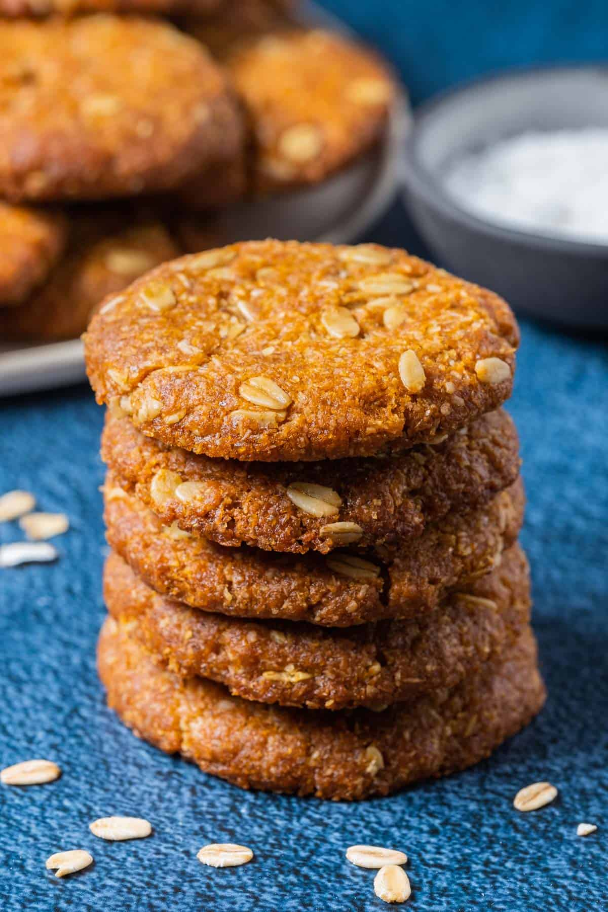 A stack of vegan Anzac biscuits.