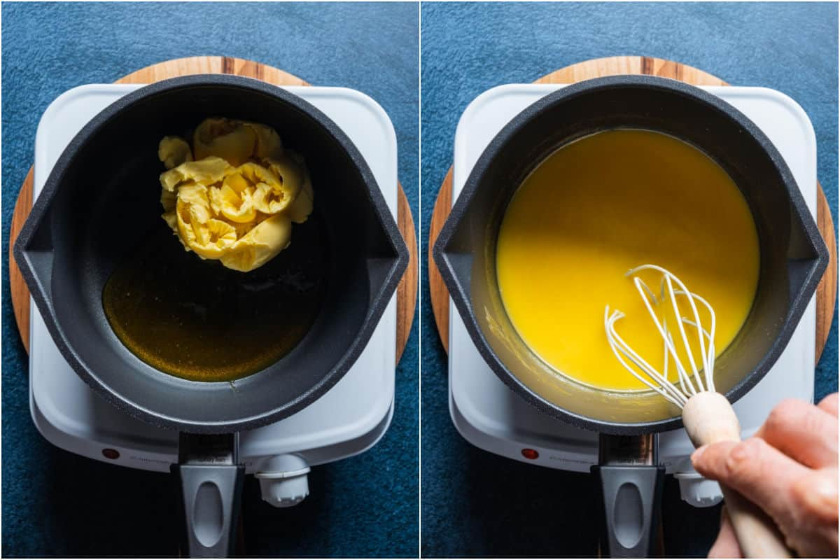 Two photo collage showing vegan butter and golden syrup added to saucepan and melted together.
