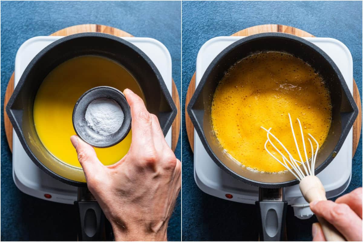 Two photo collage showing baking soda added to melted butter and syrup and whisked in.