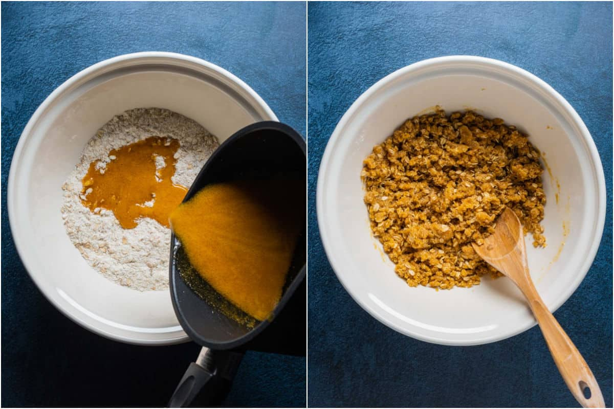 Two photo collage showing melted vegan butter and syrup mix added to dry ingredients and mixed in.