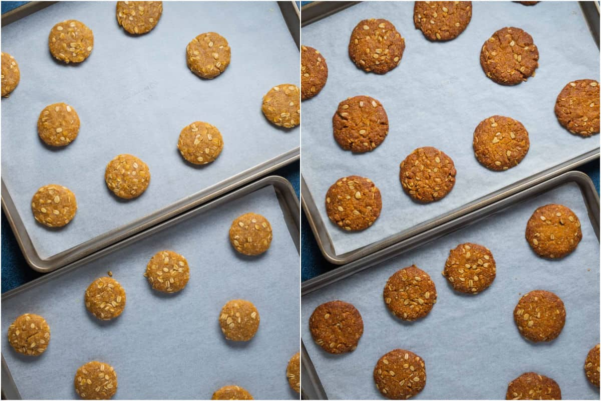 Two photo collage showing anzac biscuits before and after baking.